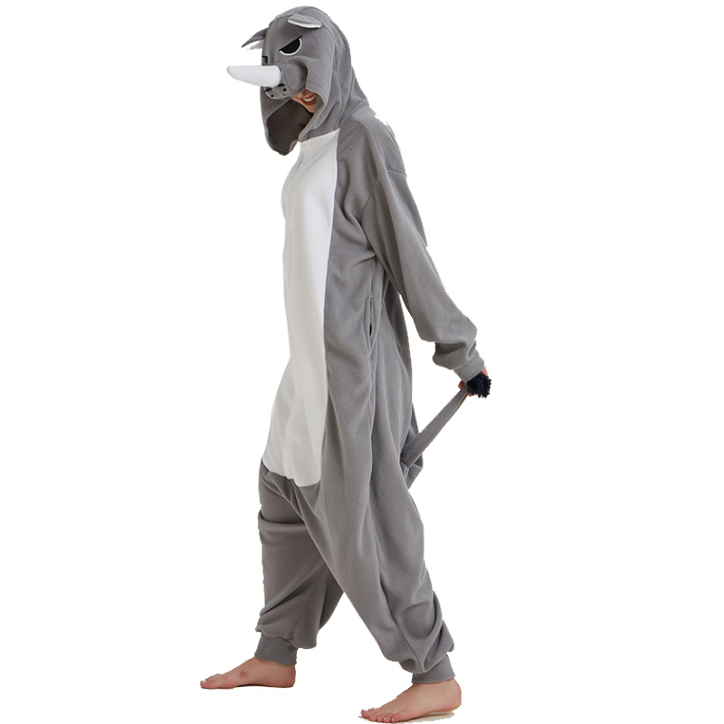... Men Adult Funny Cute Rhinoceros Gray Pajamas Cosplay Costume Animal  Onesies Rhino Sleepwear (3) ... c38c83485