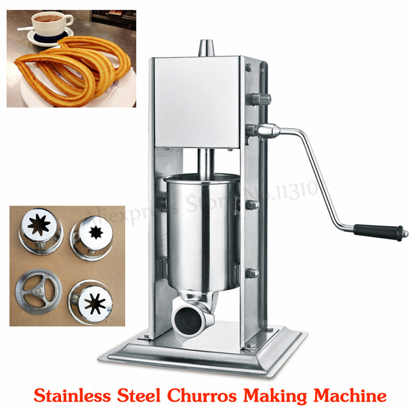 Commercial Vertical Sausage Stuffer Stainless Steel 3L Sausage Filler Spanish Churro Machine Manual Churros Maker stainless steel vertical commercial horizontal sausage stuffer filler machine manual 3l enema machine sausage filler
