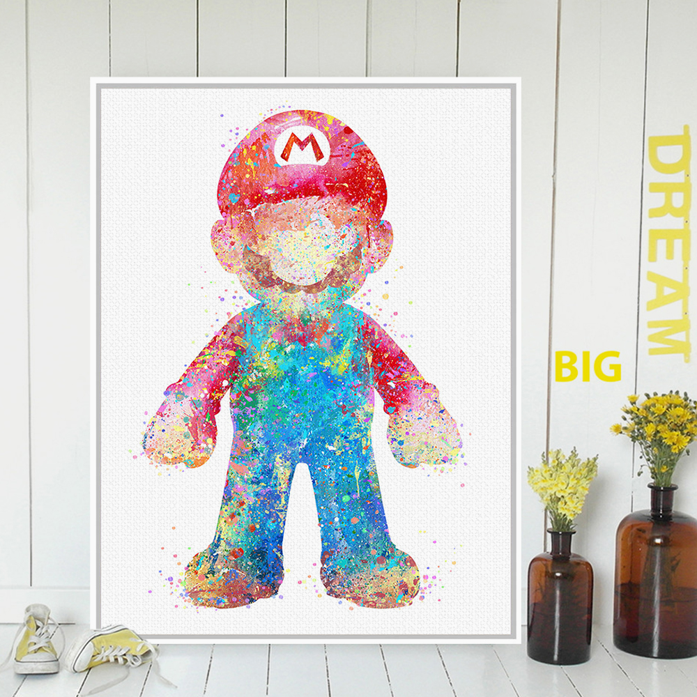 Game with watercolor - Original Watercolor Super Mario Japanese Pop Game A4 Art Print Poster Abstract Wall Picture Canvas Painting