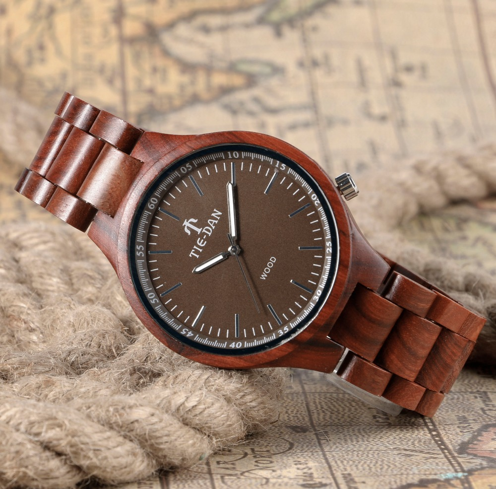 Full Wooden Brown Quartz Wrist Watch Bamboo Creative Adjustable Band Strap Nature Wood Men New Arrival