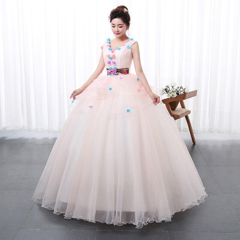 New Style Color Yarn V Neck Wedding dress 2017 Pink Princess Female Art  Exam Gowns Part Dress Vestidos De Novia-in Wedding Dresses from Weddings    Events on ... 150675293250
