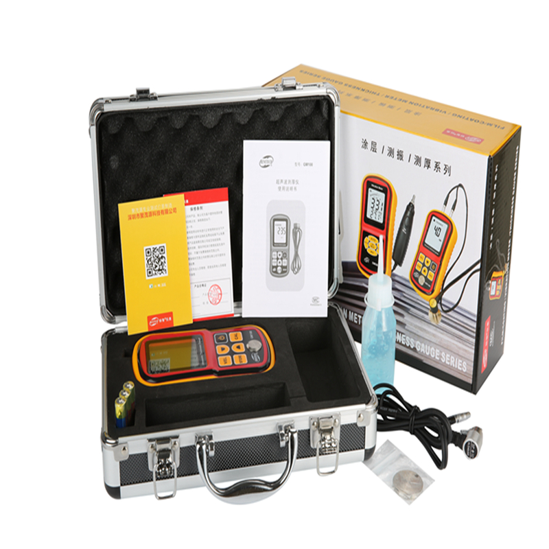Ultrasonic Thickness Gauge Meter Digital LCD Metal Width Measuring Tools 1.2~220mm (Steel) Sound Velocity Measurement GM100 exploit high precision 0 01mm profession digital lcd display thickness gauge meter paper leather fabric thickness tester