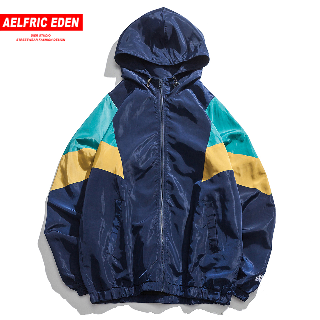 Aelfric Eden Hip Hop Patchwork Pullover Hooded Trench Mens Fashion Autumn Casual Male Jackets Coat Harajuku Windbreaker Outwear