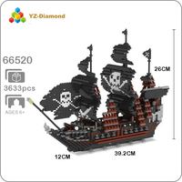 YZ 66520 Caribbean Pirate Black Pearl Ship 3D Model 3633pcs DIY Mini Building Diamond Nano Blocks Bricks Toy for Children no Box
