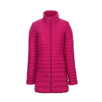 Plus Size Ultra Thin Lightweight Pleated Slim White Duck Down Jacket Women Long Design Stand Collar