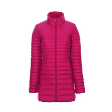 Plus measurement extremely skinny light-weight pleated slim white duck down jacket ladies lengthy design stand collar full sleeve down jackets