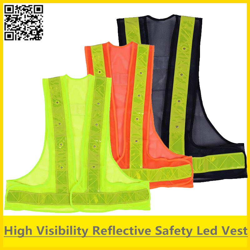SFvest Led Safety reflective vest yellow orange black vest trafffic vest security safety reflective vest led free shipping
