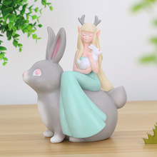 цена на European Fairy Tale Animal Figurines Miniatures Plant Pot Resin Crafts Garden Ornament Children Bedroom Home Decoration Gifts