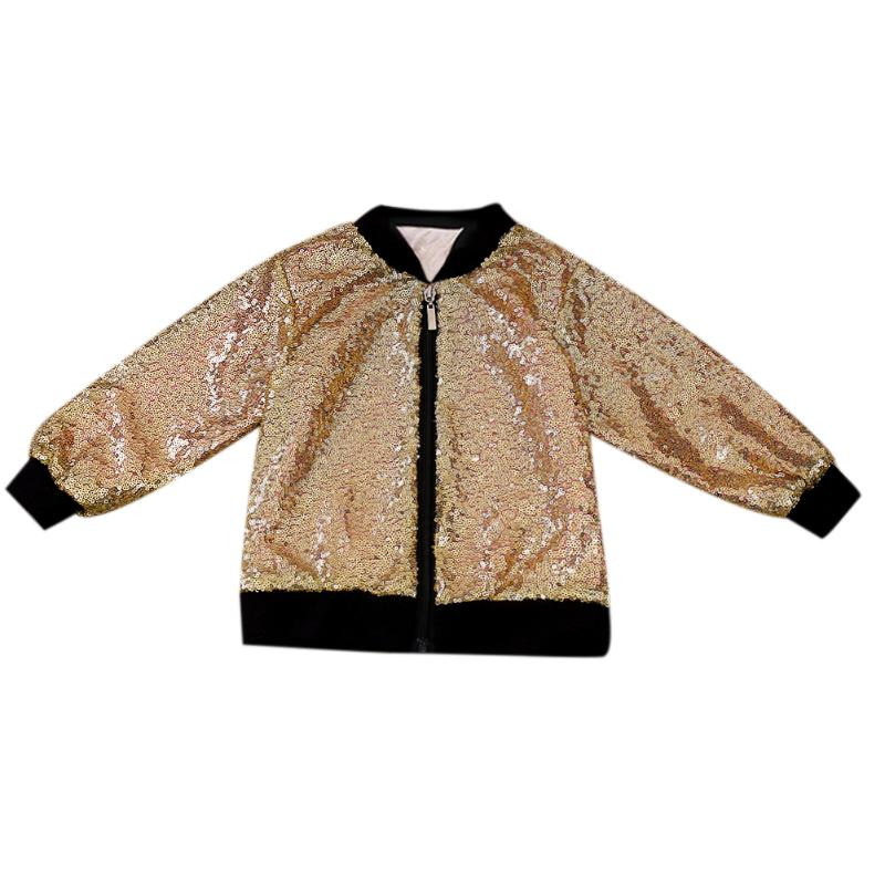 Gold Sequins Baby Girls Jacket Coats Children Outerwear Cool Baby Kids Clothing Coat Clothes Winter Autumn