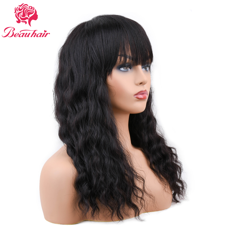 Lace Wigs Competent Beau Hair 14inch Ocean Wave Human Hair Wigs With Bang Non Remy Hair Shedding Free Brazilian Hair Wig 150%density Pre Plucked
