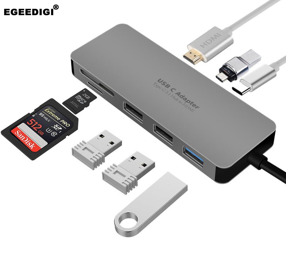 Egeedigi USB C HUB 7 in 1 docking station TF Card reader HDMI 4K Hub 3 USB 3.0 Adapter Type C PD Charging For Mac Book/CellPhoneEgeedigi USB C HUB 7 in 1 docking station TF Card reader HDMI 4K Hub 3 USB 3.0 Adapter Type C PD Charging For Mac Book/CellPhone