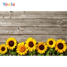 Yeele Wooden Board Sunflowers Fresh Flower Portrait Photography Backgrounds Customized Photographic Backdrops for Photo Studio
