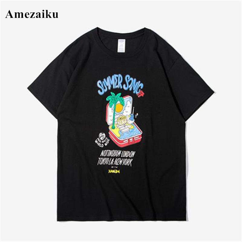 tops tees cotton t shirt men summer new simple casual English cartoon character printing mens short-sleeved T-shirt