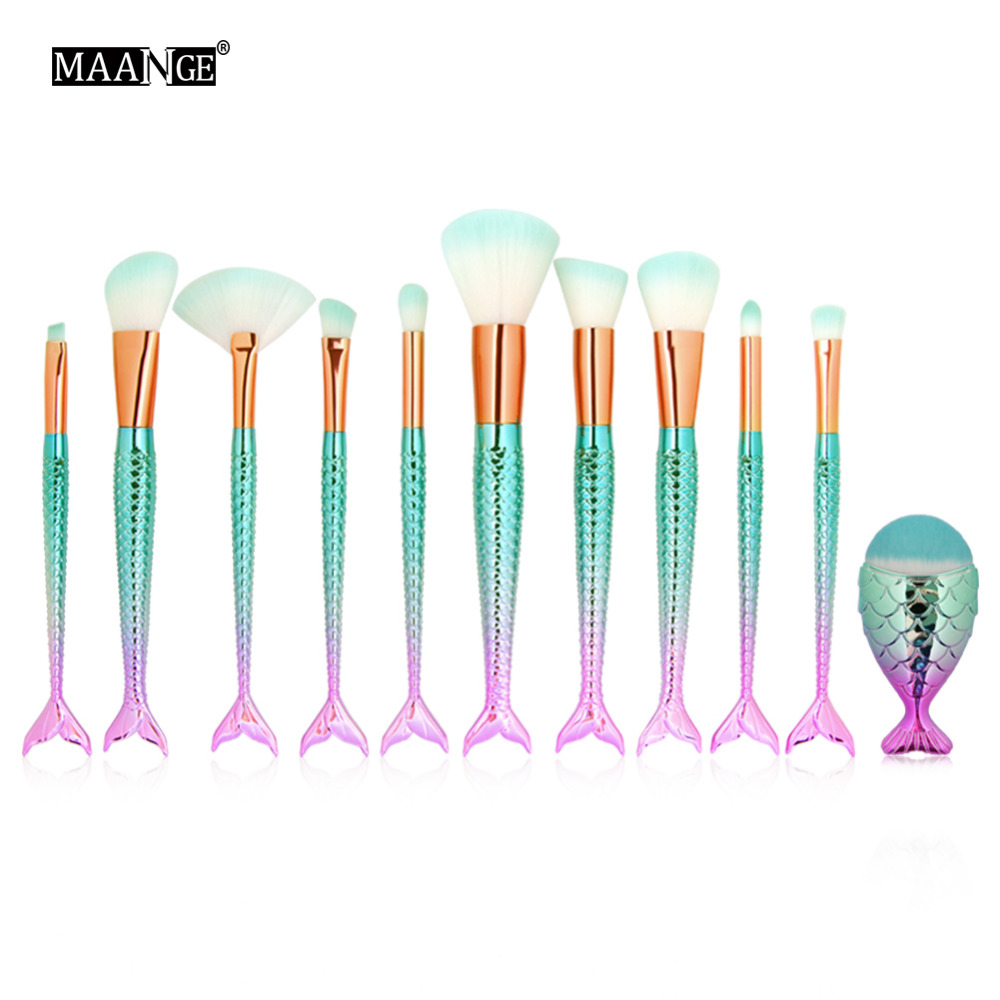11PCS Make Up Foundation Eyebrow Eyeliner Blush Cosmetic Concealer Lip Brushes Mermaid Fish Tail Makeup Brushes Maquiagem Tools make up forever lift concealer