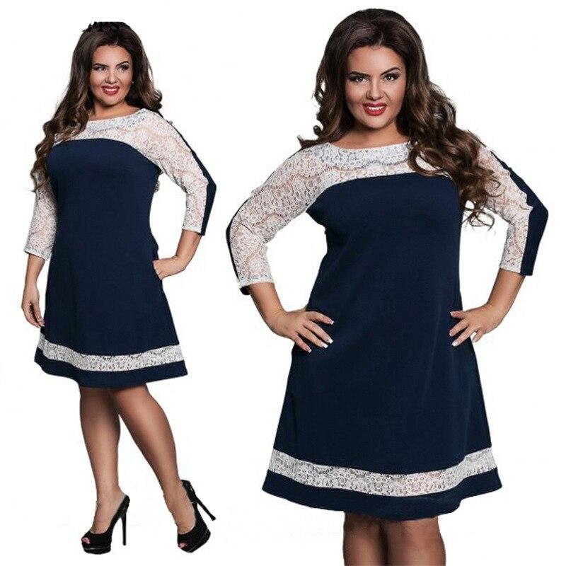 Fat MM Summer Fashion Loose Dresses Women Plus Size Patchwork Round Neck  Lace Dress Ladies Party Jurken Vestidos Women Clothing-in Dresses from  Women s ... d38e3071b68c