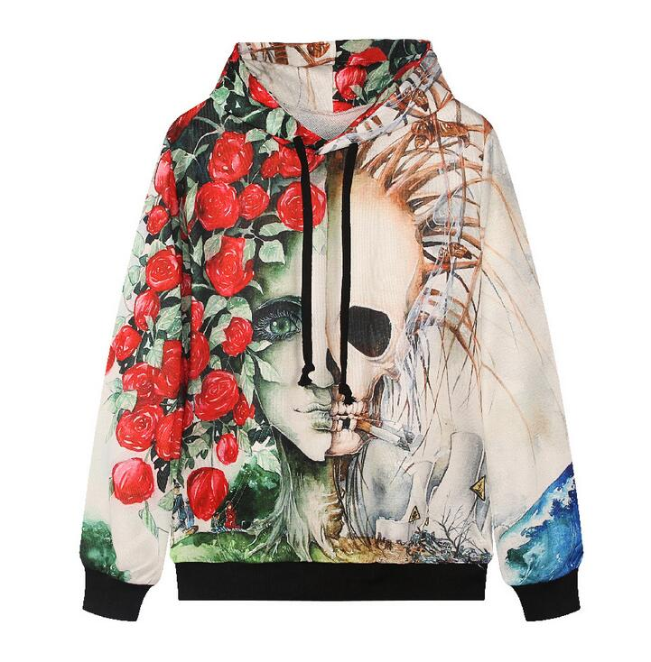 2016 Europe America fashion brand hoodies for men/women 3d sweatshirts flower print rose smoking skulls hooded hoody tracksuits