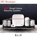 (1 conjunto Kit D) função wi-fi inteligente sistema de alarme da segurança home com andorid & ios app controle sem fio motion sensor magnético