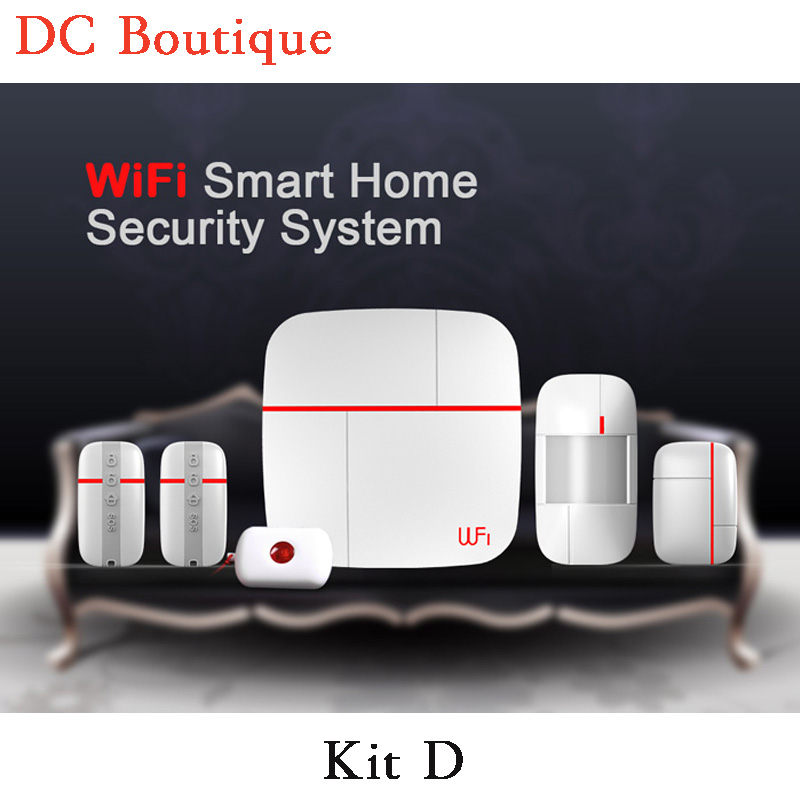 (1 set Kit D) Intelligent WIFI Function Home Security Alarm System  With Andorid&IOS APP Control Wireless Motion magnetic sensor 1 set s3 wireless pstn alarm system with wifi function support app control home security personal defense burglar alarm 433mhz