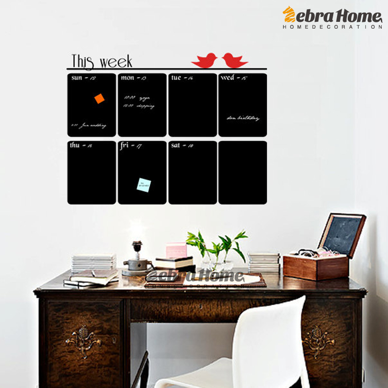 DIY Chalkboard Weekly Planner Vinyl Wall Decal Sticker Calendar Blackboard  Murals Wallpaper Office Schoolroom Home Decor 69X76CM In Wall Stickers From  Home ...