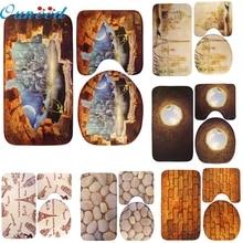 Null 3 Teile/satz Bad Rutschfeste Blauen Ozean Stil Sockel Teppich + Deckel Toilettendeckel + Badematte Oct13