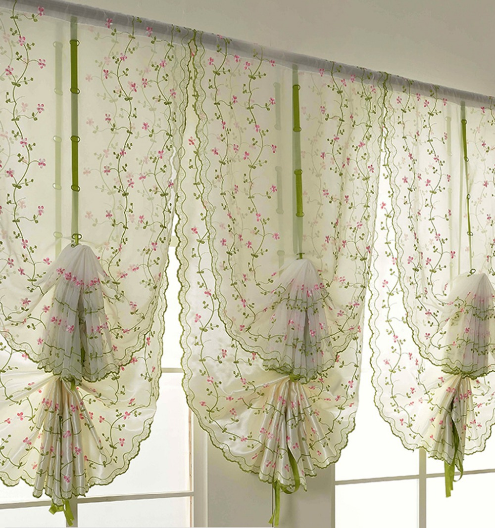 Hot Tulle For Window Roman Curtain Blinds Embroidered Voile Sheer Curtains For Kitchen Living