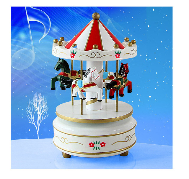 1PC New Vintage Wooden Merry Go Round Carousel Classic Music Box Kids Christmas Birthday Wedding Gift Toy Wood Crafts JL 0977