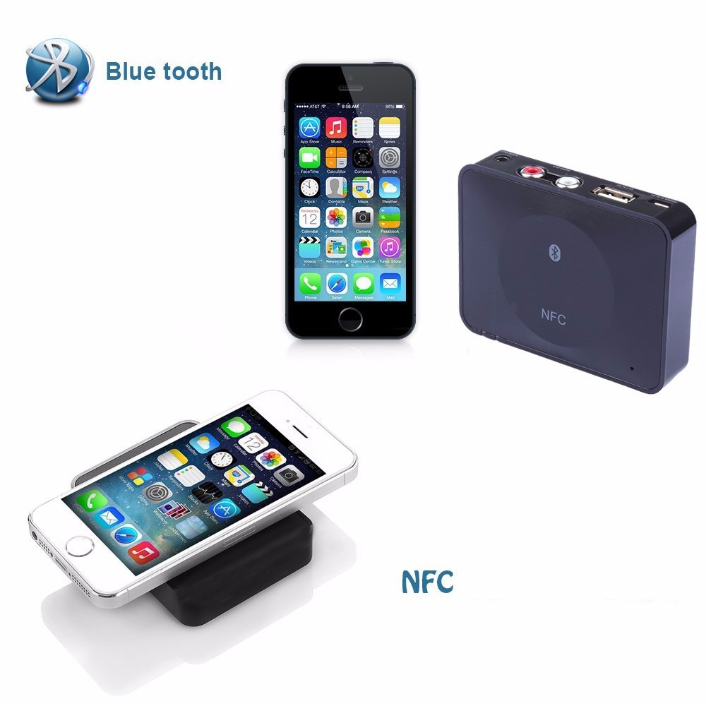 NFC Bluetooth Wireless Desktop Stereo Audio Music Receiver DVD Player Car Speaker USB Adapter  (1)