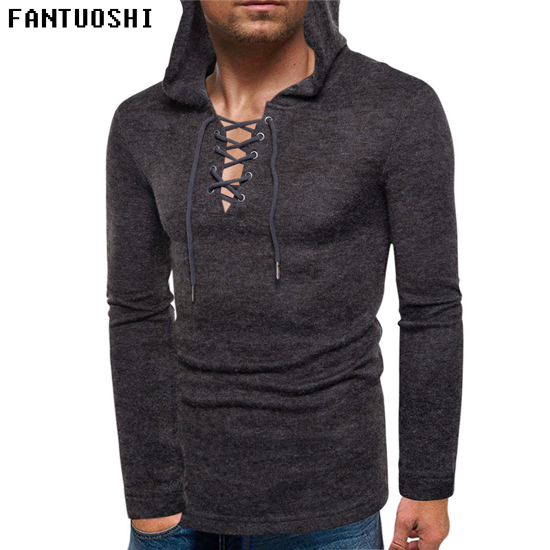 Sweater Men 2018 Autumn New Slim Solid Color Hooded Long Sleeve Knitted Pullovers High Quality Coat Black Plus Size 3XL