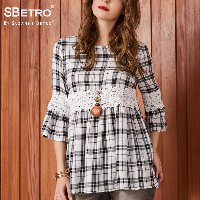 b0364fa0b5e SBetro by Suzanne Betro Casual Plaid Blouse Tops Crew neck Lace Empire  Waist Baby doll 3/4 Bell Sleeve Tunic Tops Blouses Women-in Blouses &  Shirts from ...