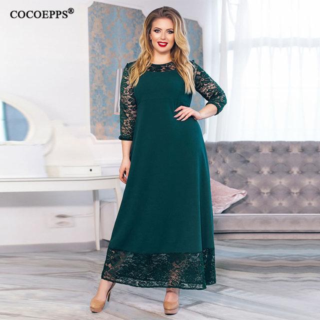 0e143a72da518 5XL 6XL 2019 new Patchwork Loose Long Dress Maxi Autumn Winter Big Sizes  Women Dress Plus Size Long Sleeve O-neck Casual Dresses