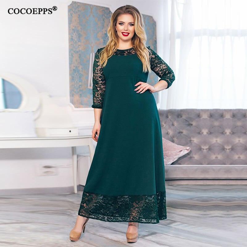 5XL 6XL 2019 new Patchwork Loose Long Dress Maxi Autumn Winter Big Sizes Women Dress Plus Size Long Sleeve O-neck Casual Dresses