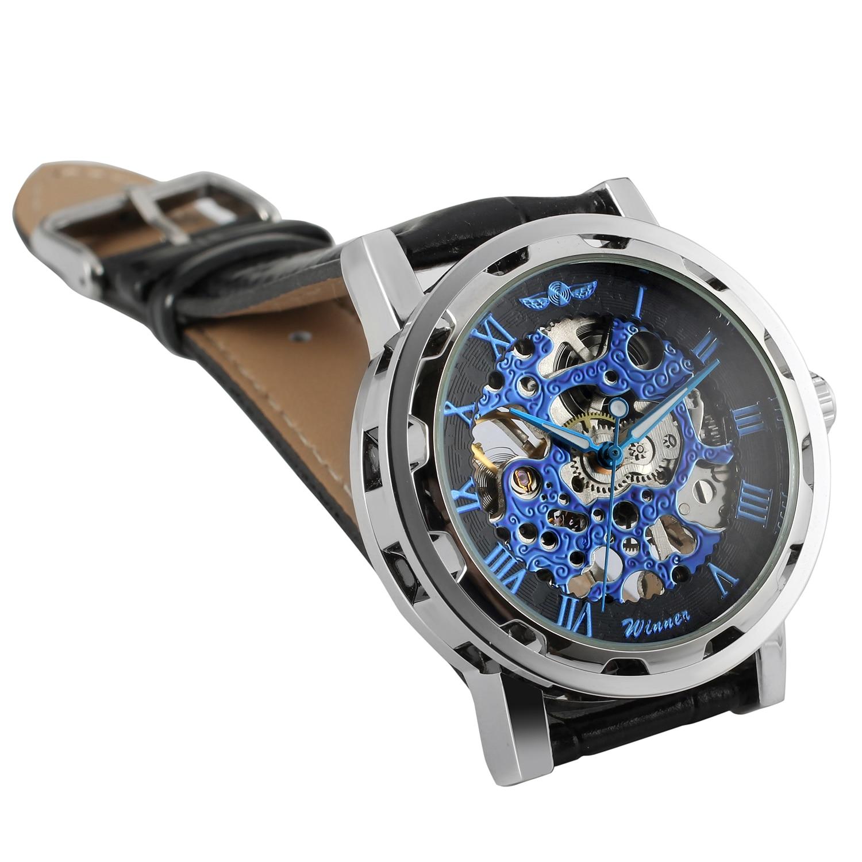 blueroman dial pulseira de couro preto relógio mecânico masculino