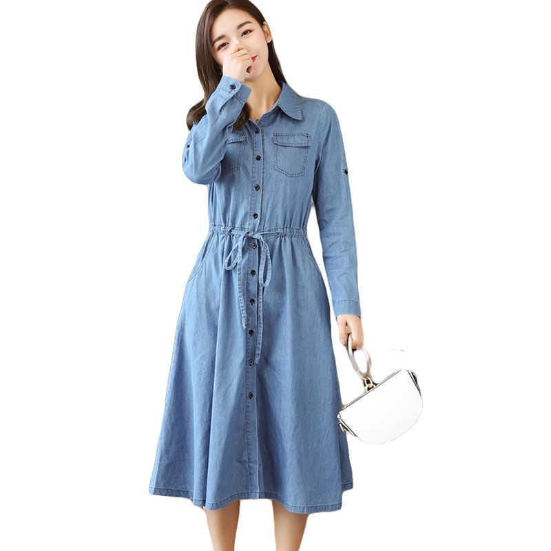 2019 весенне-осеннее женское джинсовое платье Элегантное туника с длинным рукавом офисные Вечерние платья женские повседневные джинсы Vestidos с поясом CM051