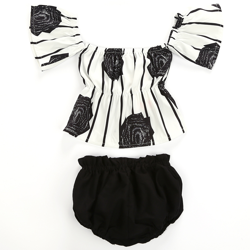 Newborn Baby Girl Casual Rose Backless Off Shoulder Striped Tops Short Pants Cotton Outfit Set