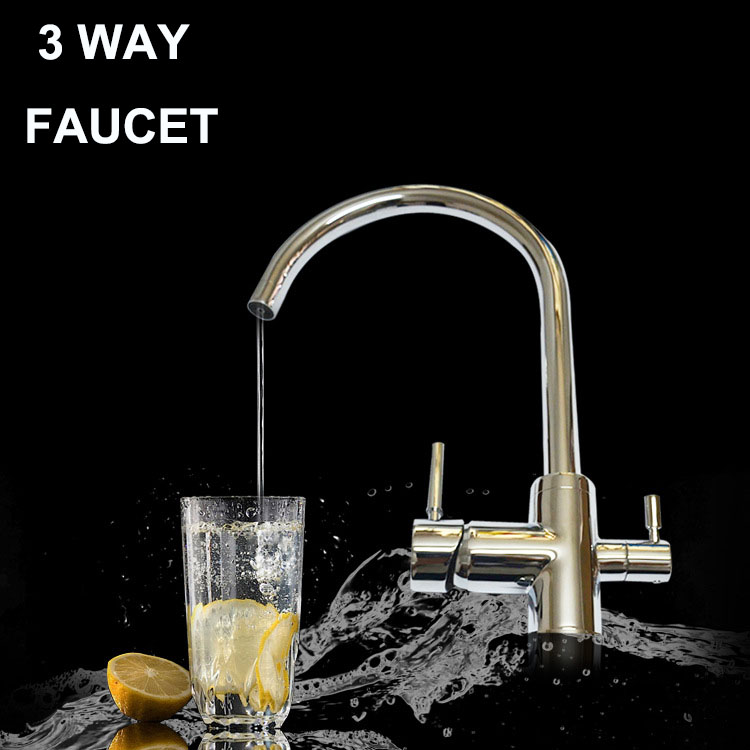 Kitchen faucet mixer Hot/Cold Filtered Water Drinking Water For Filtered Water 3 Way filter tap torneira com filtro sognare 100% brass marble painting swivel drinking water faucet 3 way water filter purifier kitchen faucets for sinks taps d2111