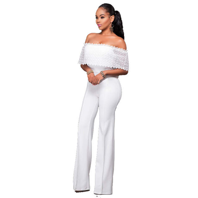 placeholder African Women Clothing Elegant Lace Hollow Out Ruffle Off the  Shoulder Slash Neck White Casual Party bf56df58968c