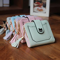 New Fashion PU Leather Black Cat Women Wallets 6 Colors Printing 3Fold Tassel Wallet Short Ladies Clutch Coin Purse Card Holder