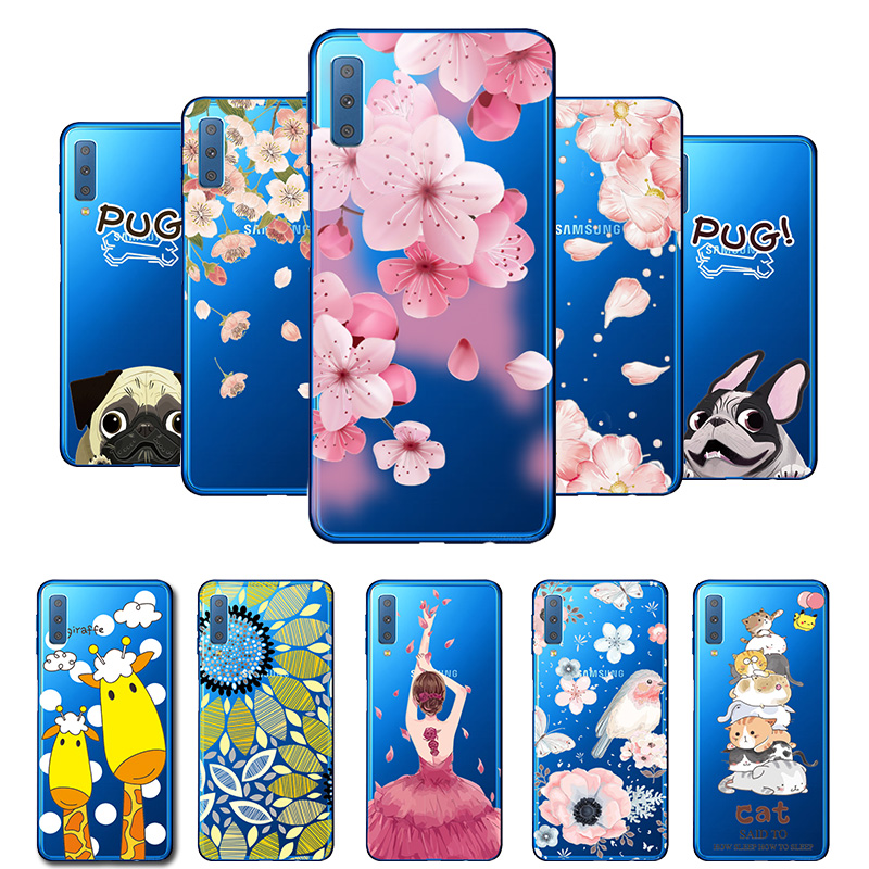 3D Relief Lace Flowers Case Cover For Samsung Galaxy A7 2018 SM-A750F Soft TPU Cute Cat Fundas For Samsung <font><b>A72018</b></font> A750 Coque image