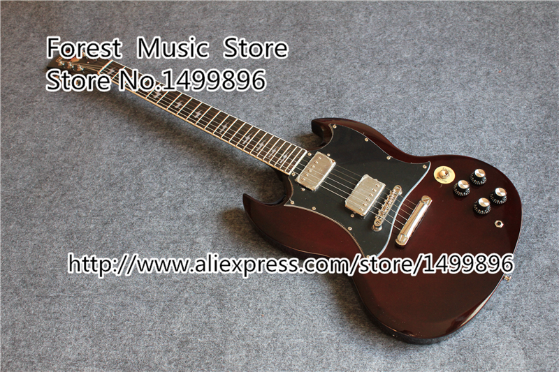 Hot Selling Smooth Burgundy Top Angus Young SG China Electric Guitarra With Golden Hardware In Stock
