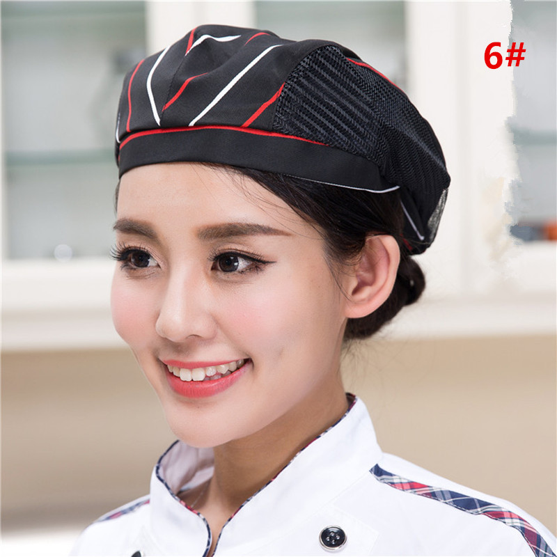 1pcs Cook Men Women Kitchen Baker Hotel Restaurant Chef Cap Unisex Waiter Work Shop Beret Hat Catering Breathable Mesh YLM9934