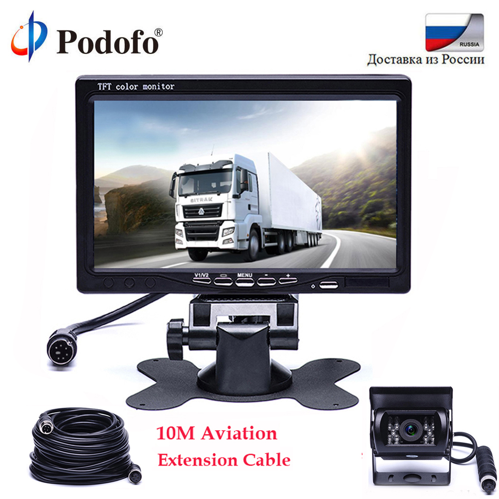 Podofo 7 Inch TFT LCD Rear View Display Monitor Waterproof 4pin IR Night Vision Reversing Backup Rear View Camera for Bus Truck цены онлайн