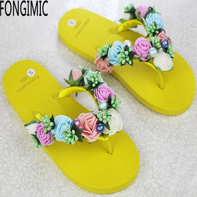 32164de77 Trend top women new summer flat bottom sandals flower string bead flip  flops fashion beach holiday no-slip comfortable shoes