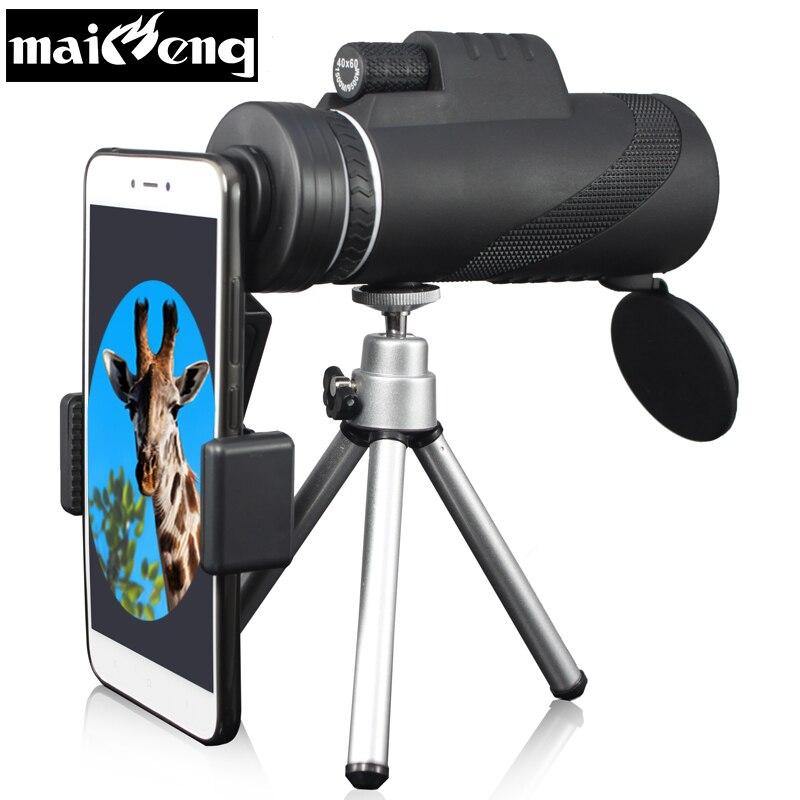 Potente 40X60 HD Monoculare Portatile Telescopio Binocolo con supporto Smartphone e Treppiede per il Campeggio Lll Visione Notturna di Caccia