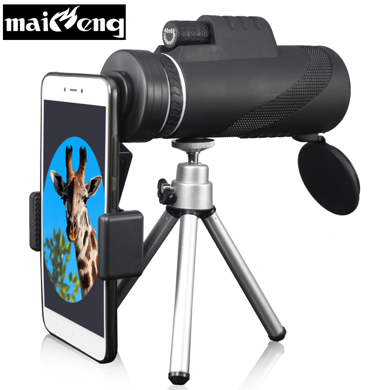 Powerful 40X60 HD Monocular Portable Telescope Binoculars with Smartphone holder and Tripod for Camping Lll Night Vision Hunting