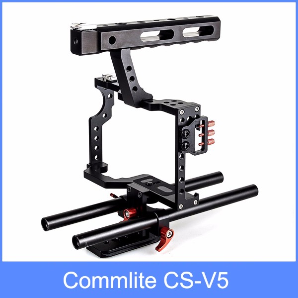Commlite CS-V5 DSLR 15mm Rod Rig Camera Video Cage Kit+Top Handle Grip for Sony A7 II A7r A7s Olympus Pentax Cameras yelangu aluminum alloy camera video cage kit film system with video cage top handle grip matte box follow focus for dslr
