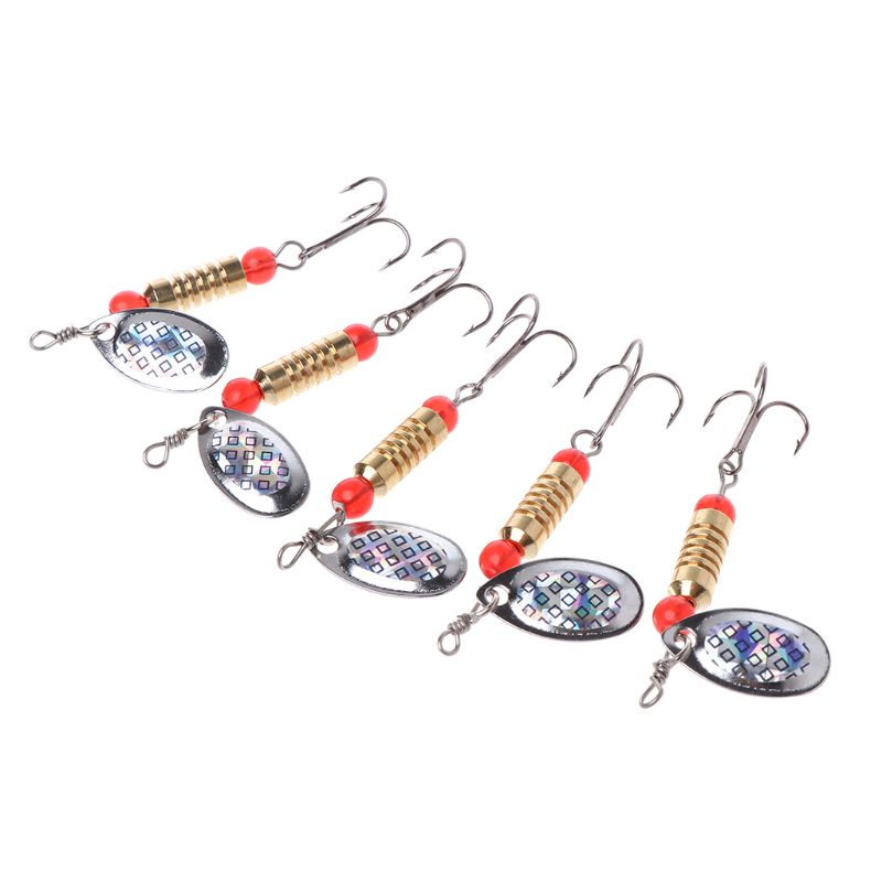 5 Pcs/Set 5.5cm4g Fishing Bait Sequin Rotation Reflective Glow Attract Baits Hard Lure Artificial Hook Spoon(China)