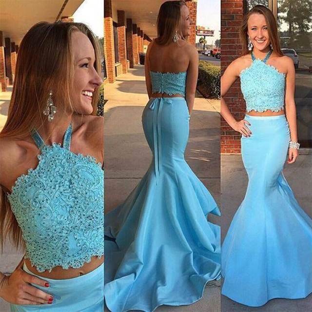 Fashion Beaded Lace Two Piece Prom Dress Mermaid Satin Sky Blue Prom ...