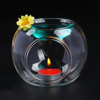 Glass Candle Candlestick Fragrance Oil Incense Burner Spa Home Office Living Room Decoration