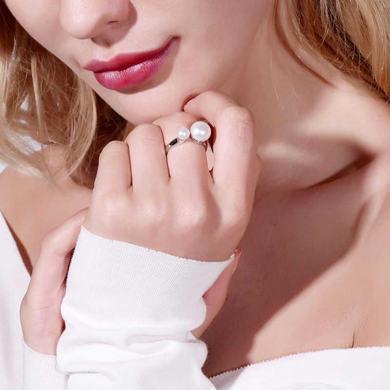 DMRFP068 Nhẫn Bạc 6-7 Mm & 9-10 Mm Đôi Ngọc Trai Bạc 925 Trang Sức Nhẫn Cho Nữ