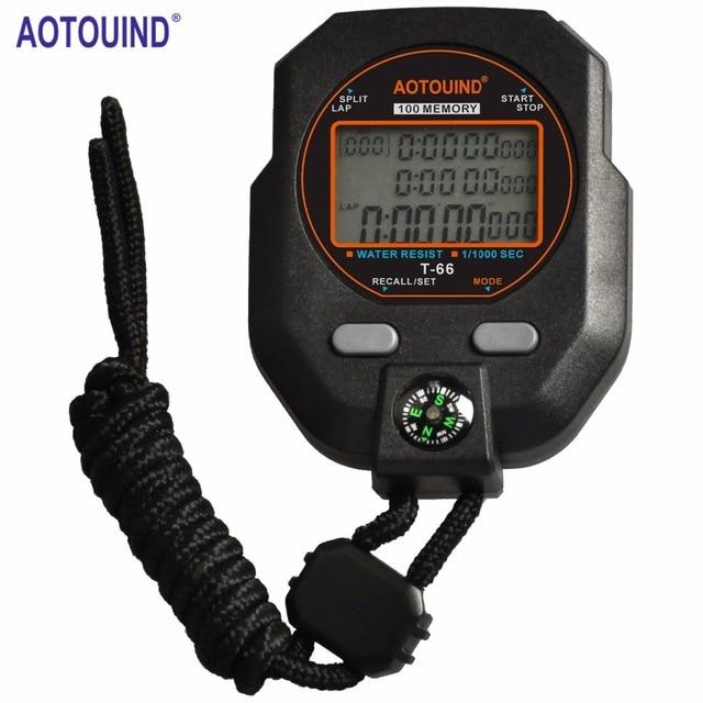 Profissional Cronômetro com Precisão de 1 1000 Segundos 3 Linhas 100 Voltas  Tempo Bússola Alarme 321e48a2cfc3c